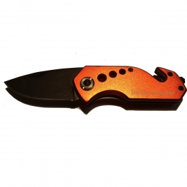 Boddenangler rescue knife, AISI 420 steel, coated, belt cutter, glass breaker, aluminium handles, clip